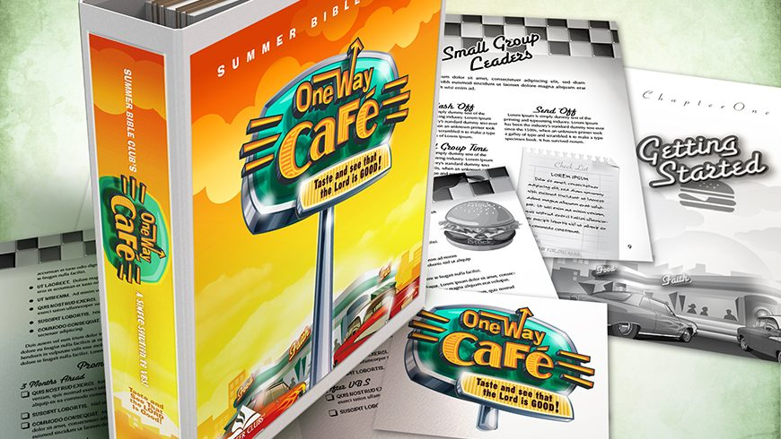 One Way Café logo, package, curriculum and collateral design